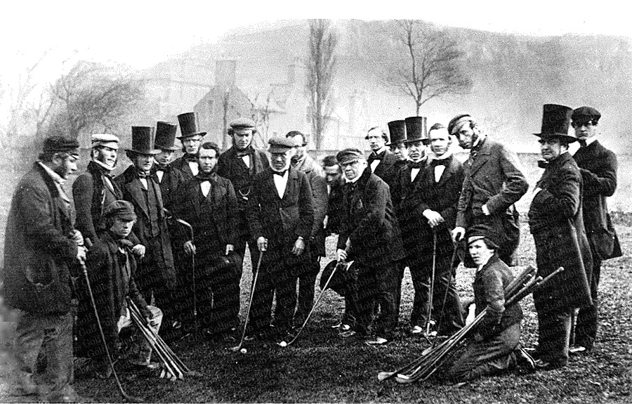 Robertson-Allan-7th-from-left-c-1855-with-golfing-party-some-in-lim-hats