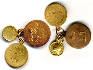 Three medals in gold, Massy attached to his watch. The medals were offered by the Grand Duke Michael Michailovitch (MM arms) following Massy's prescient success at Cannes in January 1907