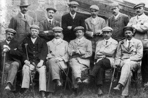 Scottish Team in 1903 (Prestwick) (standing) R. Smith, G. Coburn, J. Braid, R.Thomson, W. Park, W. Fernie. (seated) J. Kinnell, J. Kay, A. Herd, J. White, B. Sayers, J. Hepburn, The team included five Open champions.