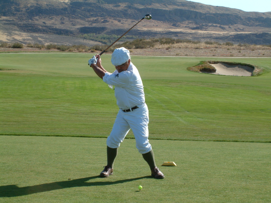 NWHP Martin Pool tees off with his Johnny Farrell's Own metal-headed, pre-1935 driver at Gamble Sands in 2015