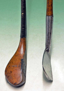 Tom Morris baffing spoon and lofted iron