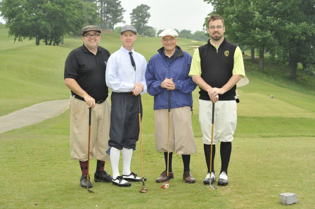 Rich Grula [Florida Hickory Golfers], Rob Birman [Northwest Hickory Players], Mike Just, and Josh Fischer [Louisville Golf] at Tad Moore's 2012 Southern Hickory 4-Ball Championship at the Highland Park Golf Course in Birmingham, AL on April 20, 2012 .