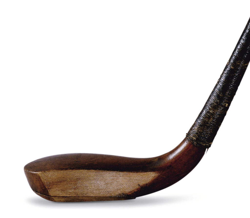 "This exceptional Philp putter came from the collection of John Laidlay, a two-time British Amateur Champion and runner-up in the 1893 Open Championship. It formed part of a set of nine Philp clubs presented to Laidlay by Sir Hew Dalrymple, Bart., of Luchie. The set of clubs was displayed at the Glasgow International Exhibition of 1901, at the request of the Reverand John Kerr who suggested to the archaeology committee that there should be a golfing exhibit and then took on the role of curating it. The exhibition opened in May 1901 and ran for six months. All golf treasures were kept safe in an isolated, fireproof structure, lit throughout by electricity and guarded day and night. The ""Laidlay"" collection was displayed in its own special case. It is believed that the Laidlay clubs were created in the early 1850's with the help of Robert Forgan, Philip's nephew and assistant. They were to be awarded as ""prize clubs"" to the winner of a competition. (Smith 1867, 11 & 18). The putter appears to never have been used. In 1981 the Laidlay collection was broken up and each club sold individually at Sotheby's golf auction in London."
