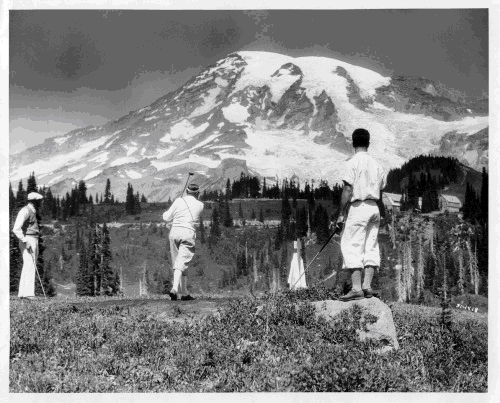 Hole No. 1 Teeing Ground, Paradise Golf Course, Mount Rainier, Washington State, 1931